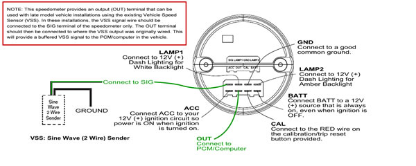 Speedo signal input for late model vehicles with PCM or computer