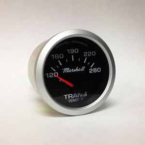 "Marshall 2037, 2-1/16"" Transmission Temperature Gauge. White Dial, Silver Bezel."