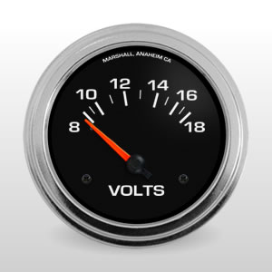 Voltmeter Gauge.  Black Dial, Electric Short-Sweep Voltmeter
