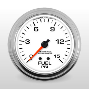White: Fuel Pressure Comp II Auto Gauges from Marshall Instruments