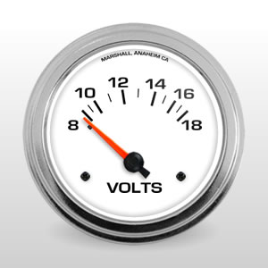 "Comp II 2-5/8"" Voltmeter.  White Dial, Electric Short-Sweep Performance Gauge"