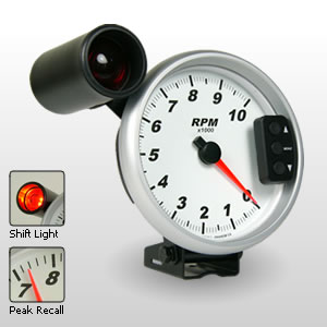 "Comp II 5"" Memory Tachometer with Shift Light.  Black Dial.  0-10,000 RPM"
