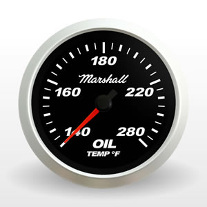 SCX Full Sweep Electric Oil Temperature Gauge, Black Dial