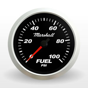 SCX Fuel Pressure Gauge.  Black Dial.  Full-Sweep Electric Fuel Pressure Gauge