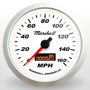 "SCX In-Dash Electric Programmable Speedometer, 3-3/8"" White Dial, 0-160MPH"