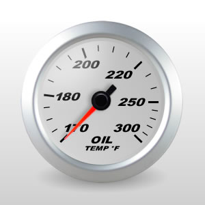 SCX Full Sweep Electric Oil Temperature Gauge, Silver Dial