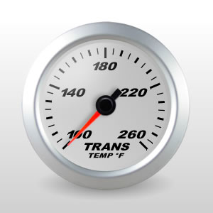 SCX Full Sweep Electric Trans Temperature Gauge, Silver Dial