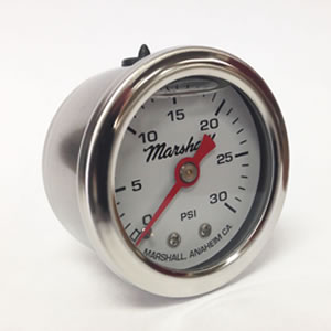 "Marshall CW00030.  1.5"" Direct Mount Fuel/Oil/Air/Water Pressure Gauge, Liquid Filled, 1/8"" NPT Center Back Connection"