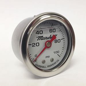 "Marshall CW00100.  1.5"" Direct Mount Fuel/Oil/Air/Water Pressure Gauge, Liquid Filled, 1/8"" NPT Center Back Connection"