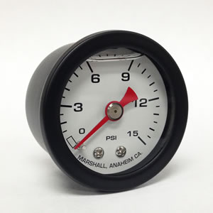 "Marshall CWB00015.  1.5"" Direct Mount Fuel/Oil/Air/Water Pressure Gauge, Liquid Filled, 1/8"" NPT Center Back Connection"