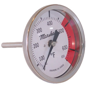 "Model E: 3"" White Dial  Bimetal Thermometers from Marshall Instruments"