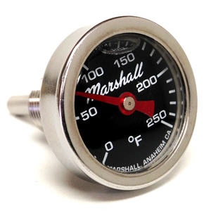 "Direct Mount Engine Thermometer.  0-250F ""Shock Proof"" Flag Dial, Silicone Filled."