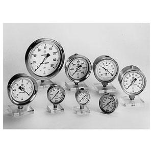 "McDaniel 4"" All Stainless Steel Gauges, 1/4"" NPT Connection, Fillable w/ Blow-Out Protection"
